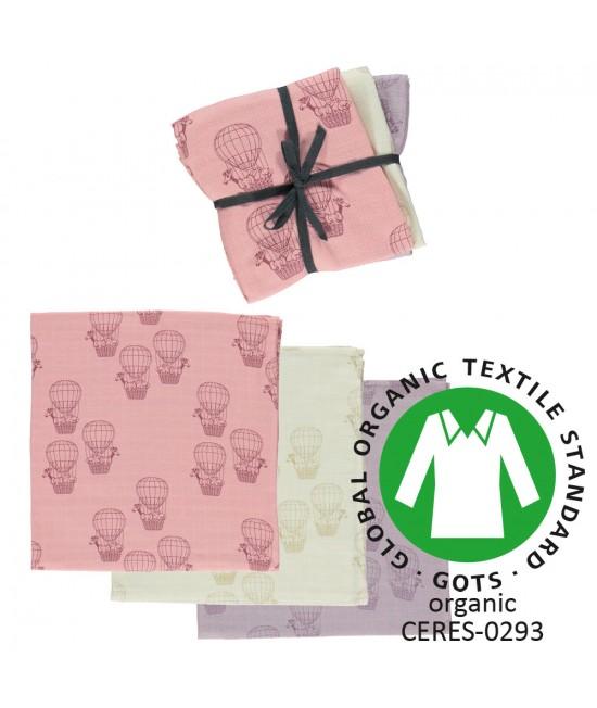 Set 3 prosoape/șervețele/păturici din bumbac organic muselină Smafolk - Hot air ballon pink