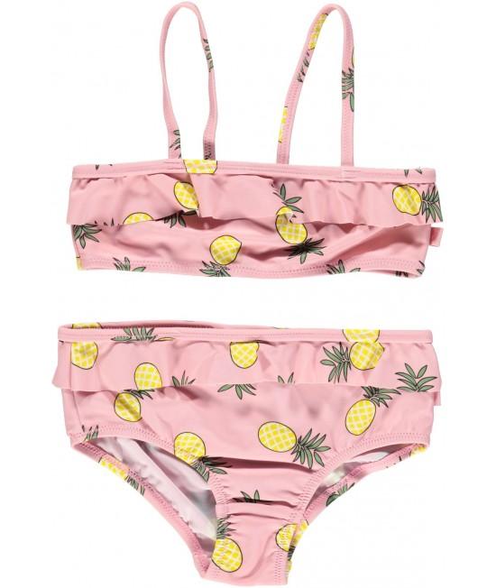 Costum de baie din două piese cu filtru UV pentru protecție solară Smafolk - roz cu ananas