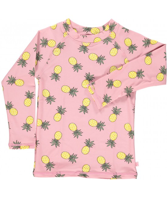 Bluză cu filtru UV pentru protecție solară Smafolk - roz cu ananas