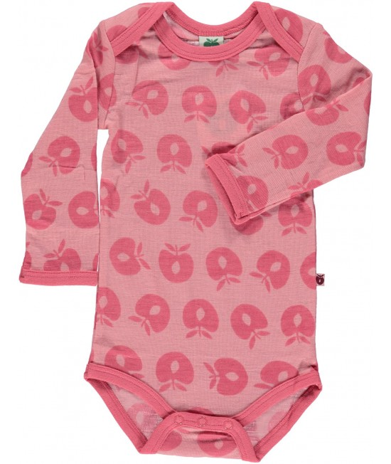 Body roz din lână Merino Småfolk pentru bebeluși