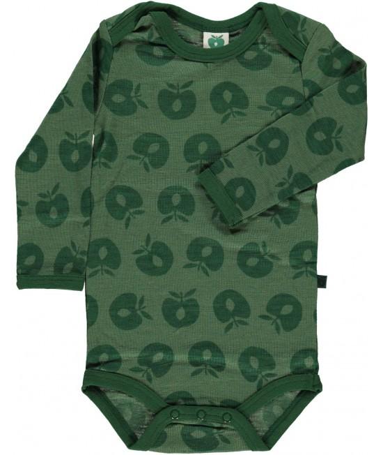 Body verde din lână Merino Småfolk pentru bebeluși