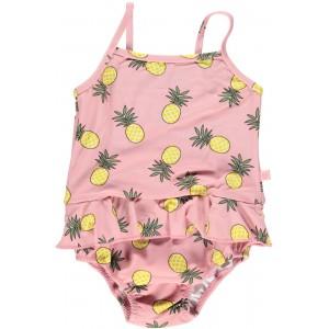 Costum de baie cu filtru UV pentru protecție solară și scutec refolosibil de apă Smafolk - roz cu ananas