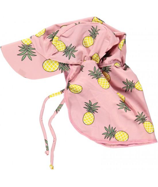 Pălărie cu filtru UV pentru protecție solară Smafolk - roz cu ananas