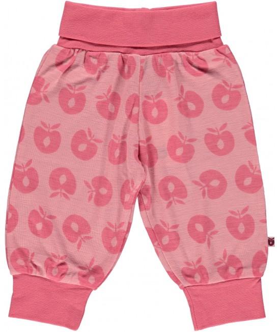 Pantaloni roz din lână Merino Småfolk pentru bebeluși
