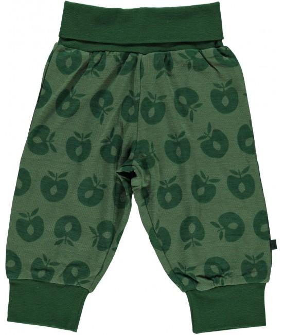 Pantaloni verzi din lână Merino Småfolk pentru bebeluși