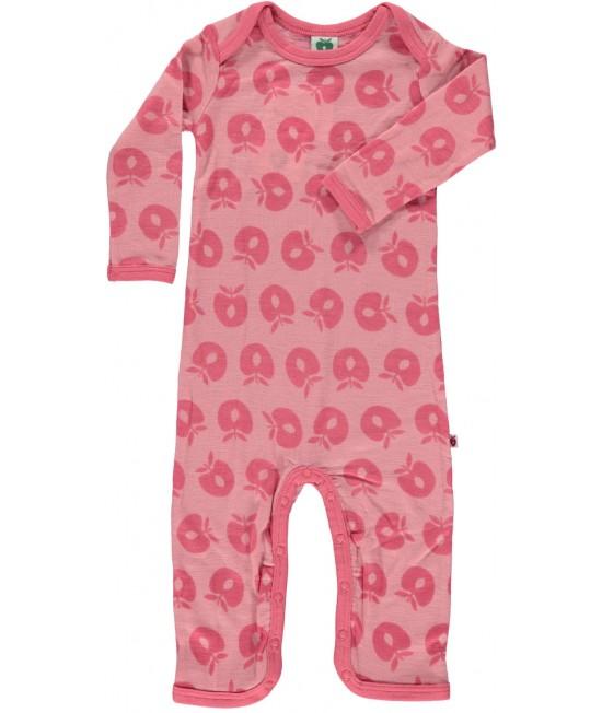 Salopetă overall roz din lână Merino Småfolk pentru bebeluși