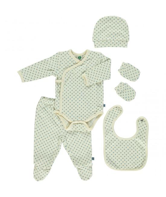 Set cadou pentru nou-născuți: îmbrăcăminte Smafolk din bumbac organic - Mere albastre Stone Blue