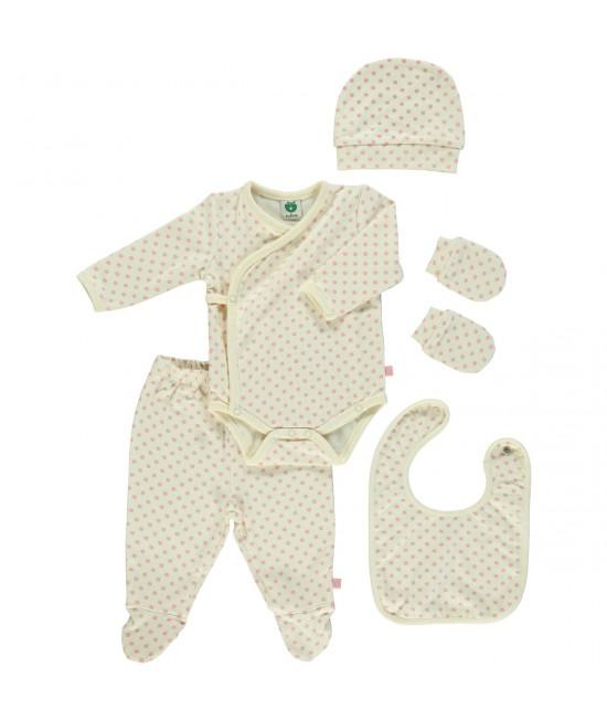Set cadou pentru nou-născuți: îmbrăcăminte Smafolk din bumbac organic - Mere roz Bridal Rose