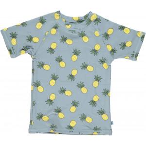Tricou cu filtru UV pentru protecție solară Smafolk - albastru cu ananas