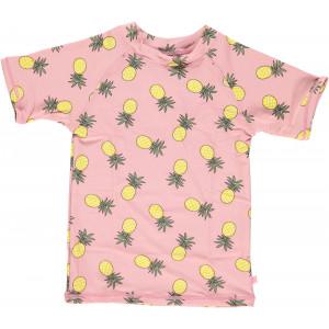 Tricou cu filtru UV pentru protecție solară Smafolk - roz cu ananas