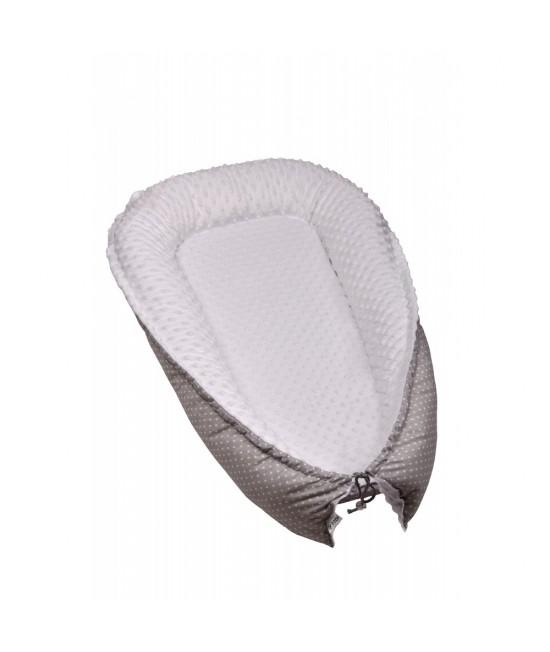 Pernă-cuib pentru bebeluși T-Tomi din bumbac și minky - gri cu buline