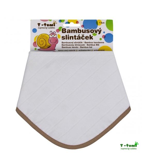 Bavețică din bambus și bumbac organic T-Tomi BIO - White with beige edging