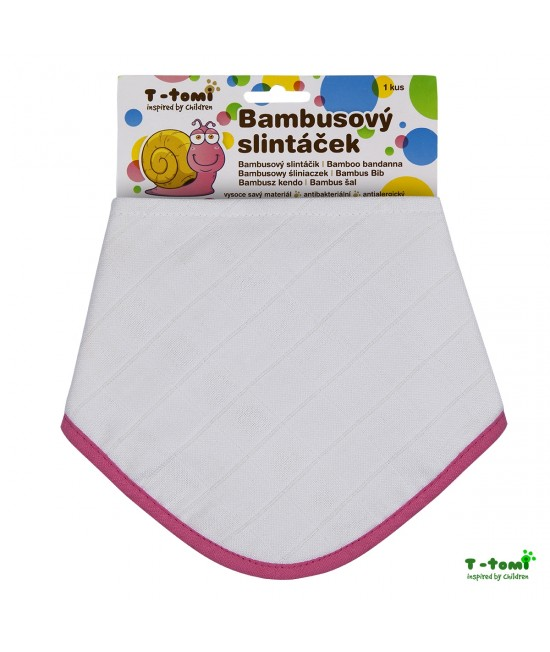 Bavețică din bambus și bumbac organic T-Tomi BIO - White with pink edging