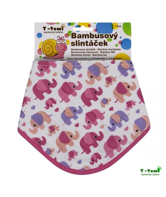 Bavețică din bambus și bumbac organic T-Tomi BIO - Pink Elephants