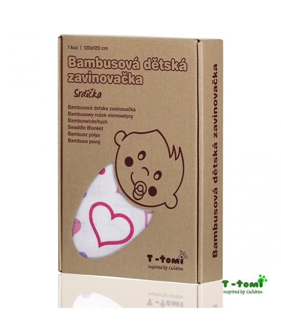 Păturică de înfășat din bambus T-Tomi - Hearts