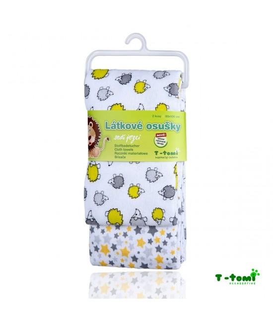 Prosoape din bumbac flanel T-Tomi - set de 2 bucăți - Grey Hedgehogs