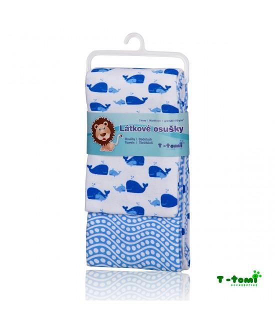 Prosoape din bumbac flanel T-Tomi - set de 2 bucăți - Blue Ocean