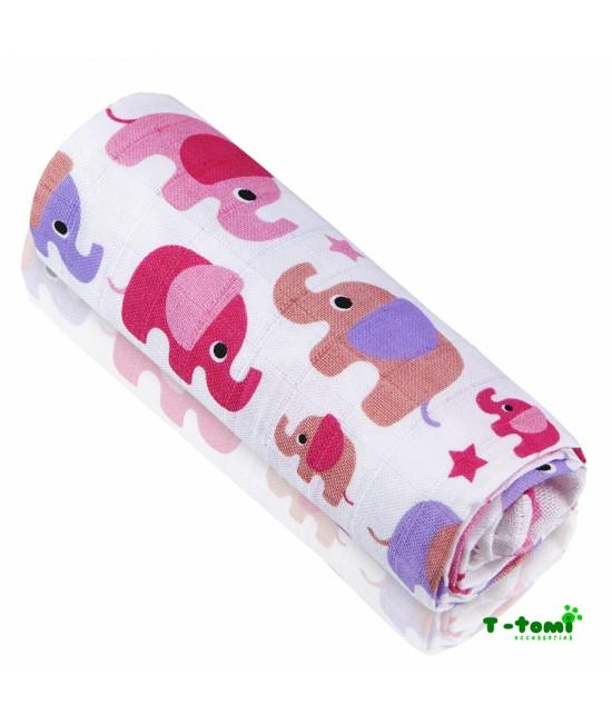 Prosop din bambus T-Tomi - Pink Elephants