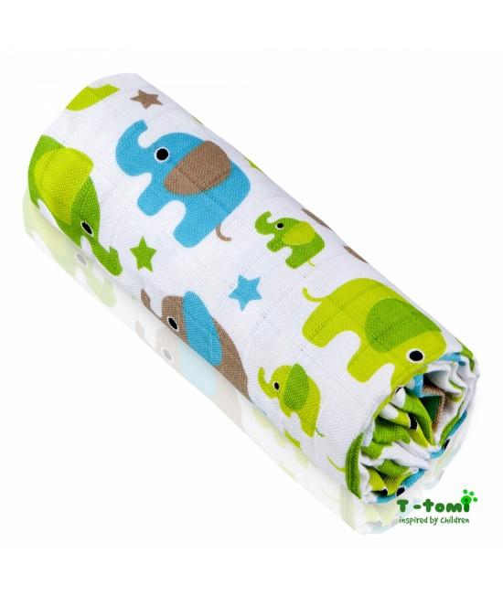 Prosop din bambus BIO T-Tomi - Green Elephants