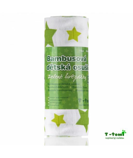 Prosop din bambus T-Tomi - Green Stars