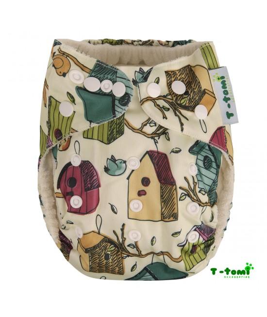 Scutec textil cu buzunar din bambus, cu inserturi din bambus T-Tomi Nest Box