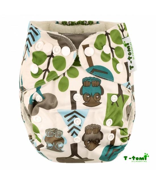 Scutec textil cu buzunar din bambus, cu inserturi din bambus T-Tomi Trees