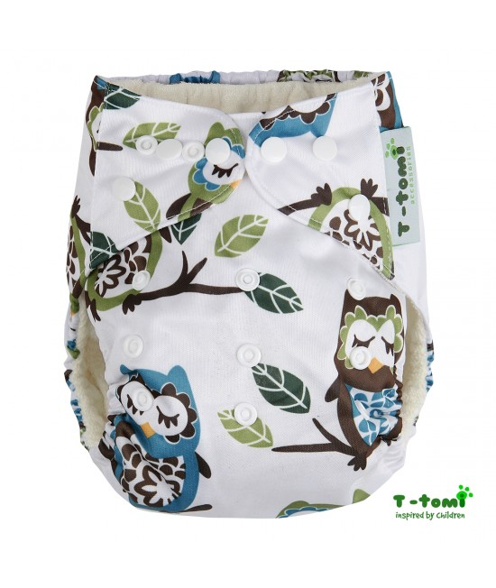 Scutec textil cu buzunar din bambus, cu inserturi din bambus T-Tomi White Owl