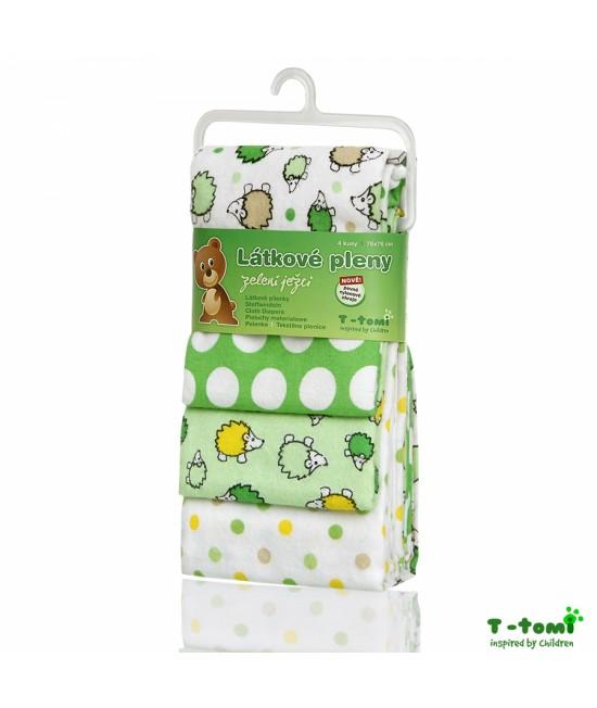 Scutece din bumbac flanel T-Tomi - set de 4 bucăți - Green Hedgehogs