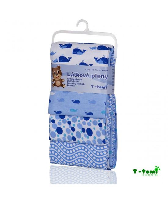 Scutece din bumbac flanel T-Tomi - set de 4 bucăți - Blue Whales