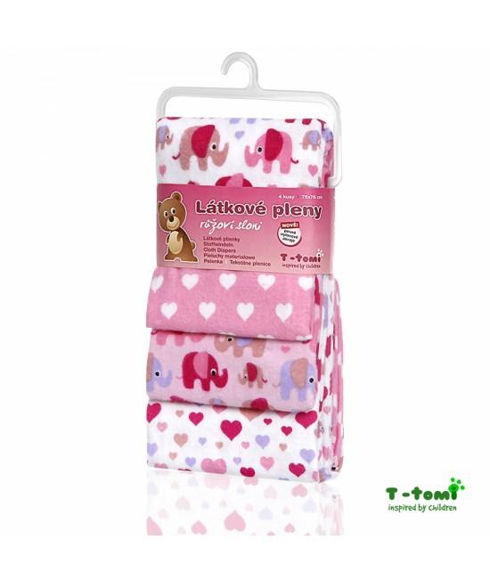 Scutece din bumbac flanel T-Tomi - set de 4 bucăți - Pink Elephants