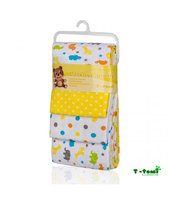 Scutece din bumbac flanel T-Tomi - set de 4 bucăți - Yellow Giraffe
