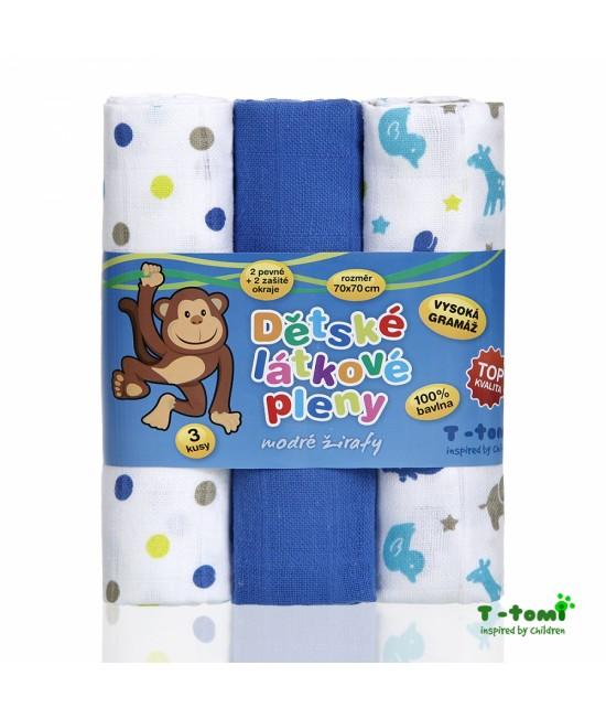 Scutece din bumbac Tetra T-Tomi - set de 3 bucăți - Blue Giraffes