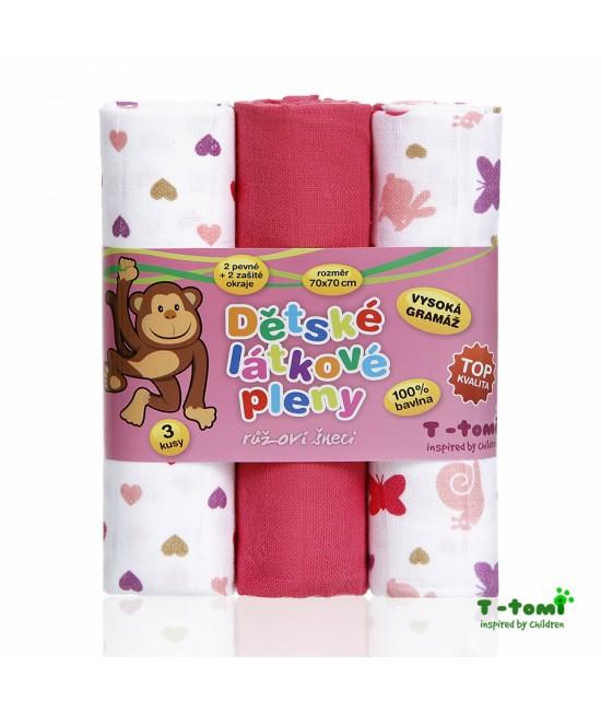 Scutece din bumbac Tetra T-Tomi - set de 3 bucăți - Pink Snails