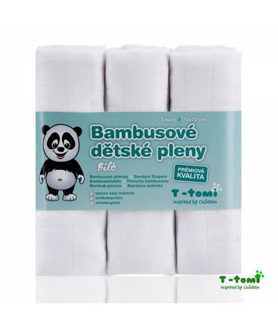 Scutece tradiționale din bambus T-Tomi BIO- set de 3 bucăți - White