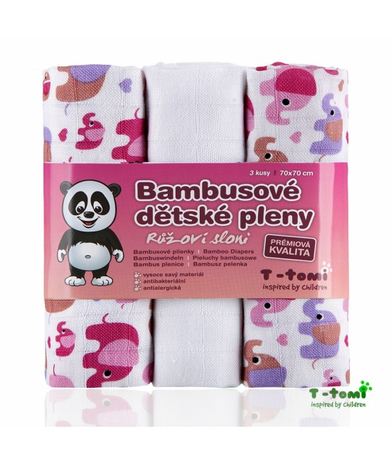 Scutece tradiționale din bambus T-Tomi BIO- set de 3 bucăți - Pink Elephants
