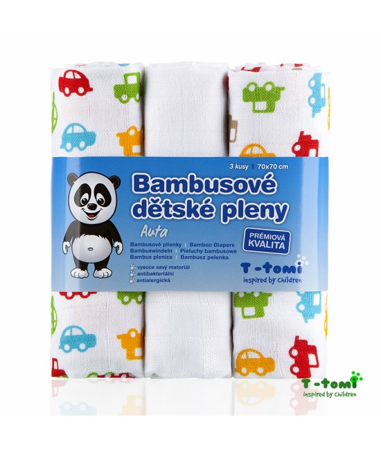 Scutece tradiționale din bambus T-Tomi BIO - set de 3 bucăți - Cars