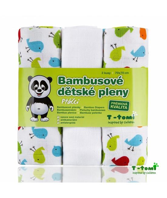 Scutece tradiționale din bambus T-Tomi BIO- set de 3 bucăți - Birds