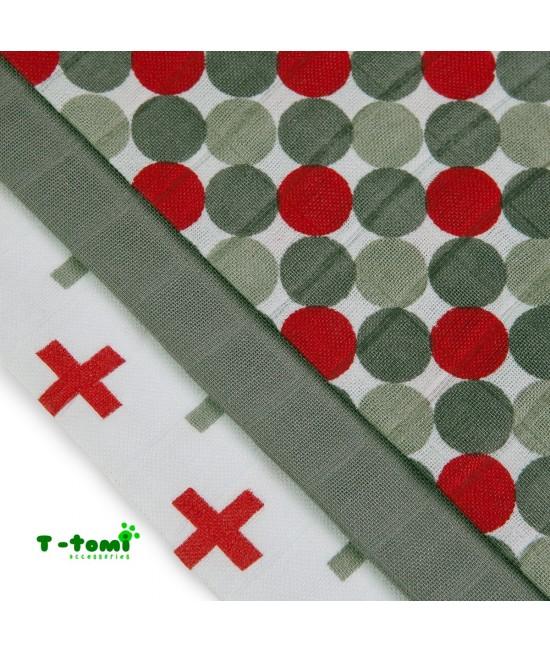 Scutece tradiționale din bambus T-Tomi BIO- set de 3 bucăți - Red Balls