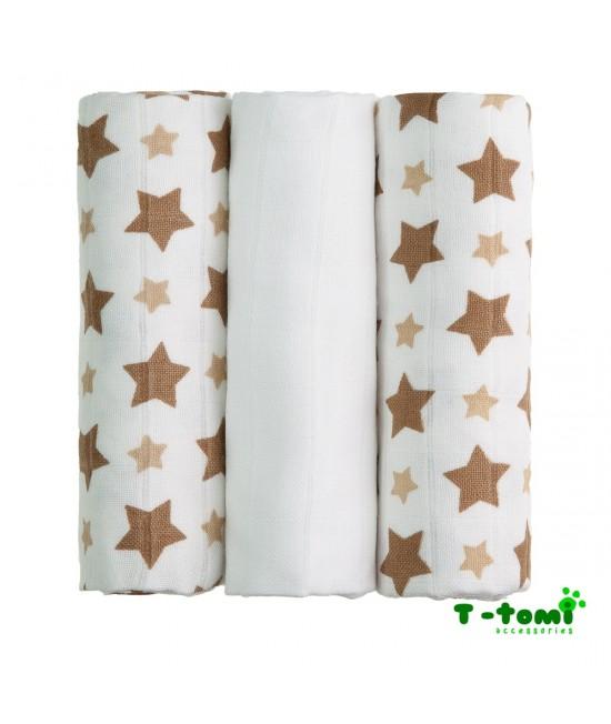 Scutece tradiționale din bambus T-Tomi BIO- set de 3 bucăți - Beige Stars