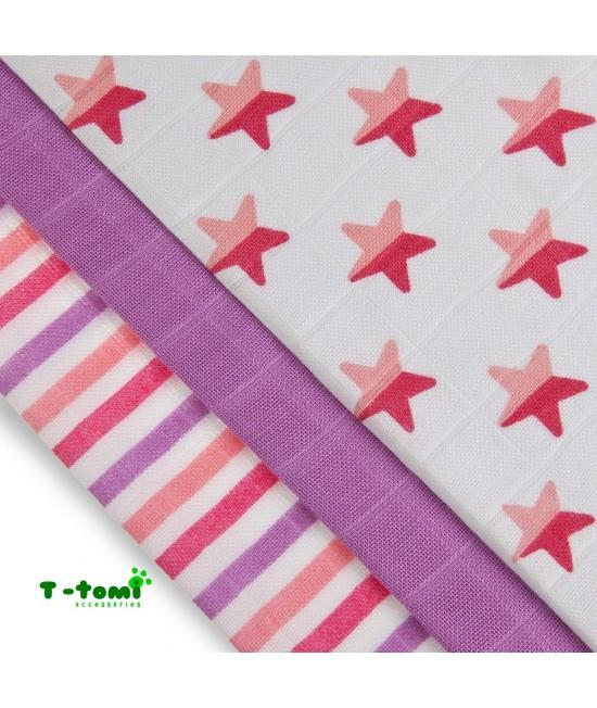 Scutece tradiționale din bambus T-Tomi BIO- set de 3 bucăți - Pink Stars