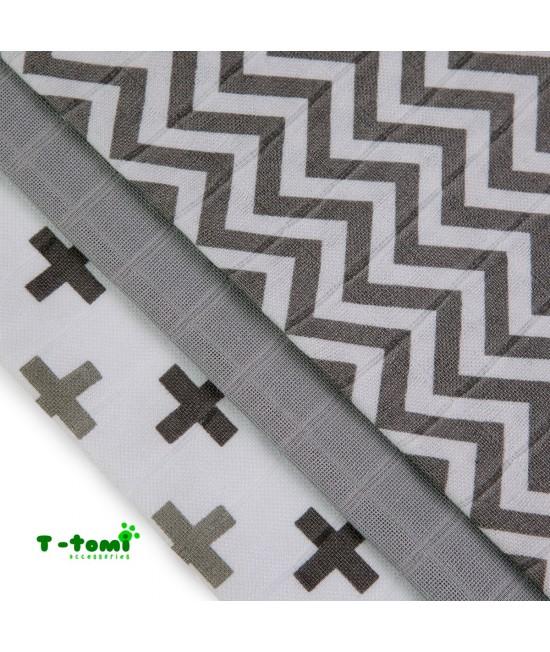 Scutece tradiționale din bambus T-Tomi BIO- set de 3 bucăți - Grey Roofs