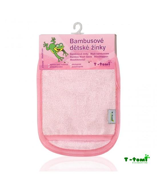 Șervețele-mănuși roz din bambus T-Tomi pentru spălarea bebelușului
