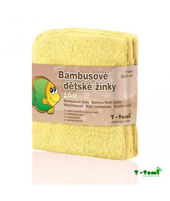 Șervețele galbene din bambus T-Tomi pentru spălarea bebelușului