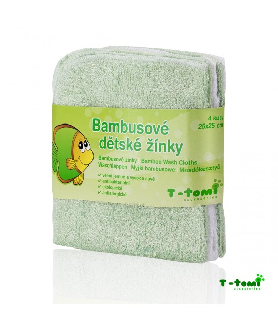 Șervețele verzi din bambus T-Tomi pentru spălarea bebelușului