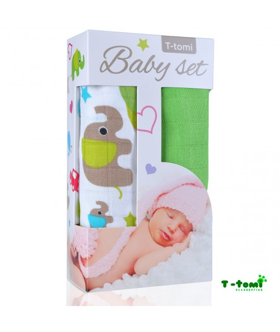 Set cadou prosoape din bambus T-Tomi - Green Elephants & Green