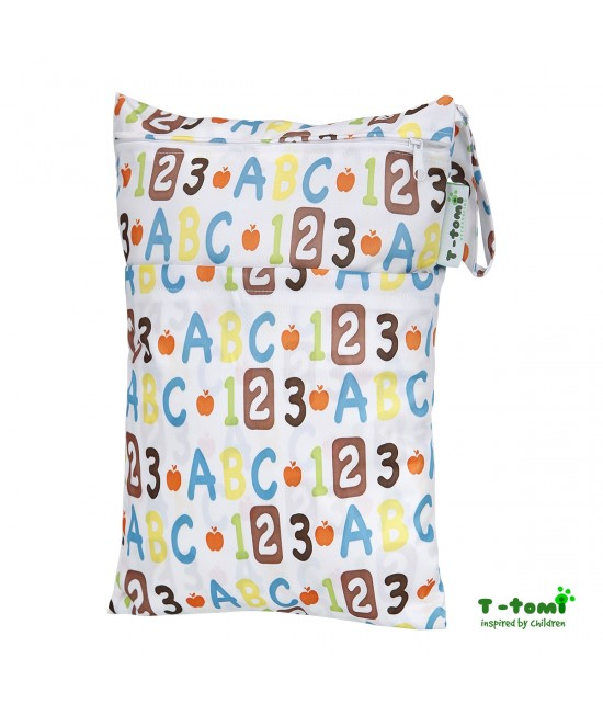 Săculeț impermeabil T-Tomi (wet bag) Alphabet cu 2 compartimente și fermoare
