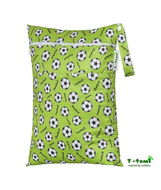 Săculeț impermeabil T-Tomi (wet bag) Football cu 2 compartimente și fermoare
