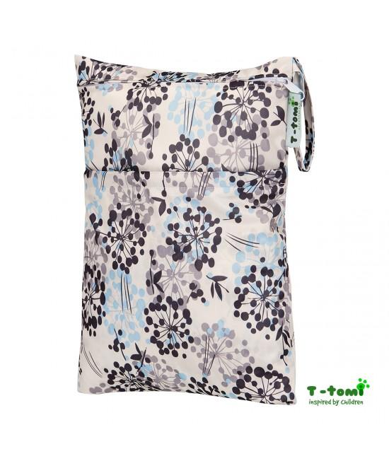 Săculeț impermeabil T-Tomi (wet bag) Grey Flowers cu 2 compartimente și fermoare