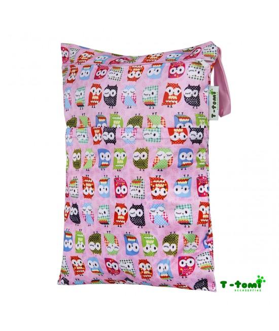 Săculeț impermeabil T-Tomi (wet bag) Pink Owl cu 2 compartimente și fermoare