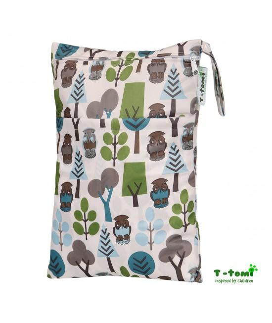 Săculeț impermeabil T-Tomi (wet bag) Trees cu 2 compartimente și fermoare